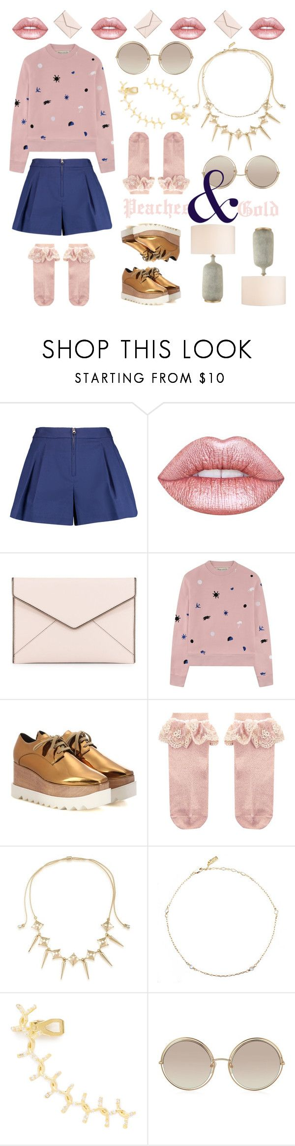 """""""Peaches & Gold"""" by yuniyaro ❤ liked on Polyvore featuring 3.1 Phillip Lim, Lime Crime, Rebecca Minkoff, Être Cécile, STELLA McCARTNEY, Monsoon, ABS by Allen Schwartz, Goddess, Joanna Laura Constantine and Marc Jacobs"""