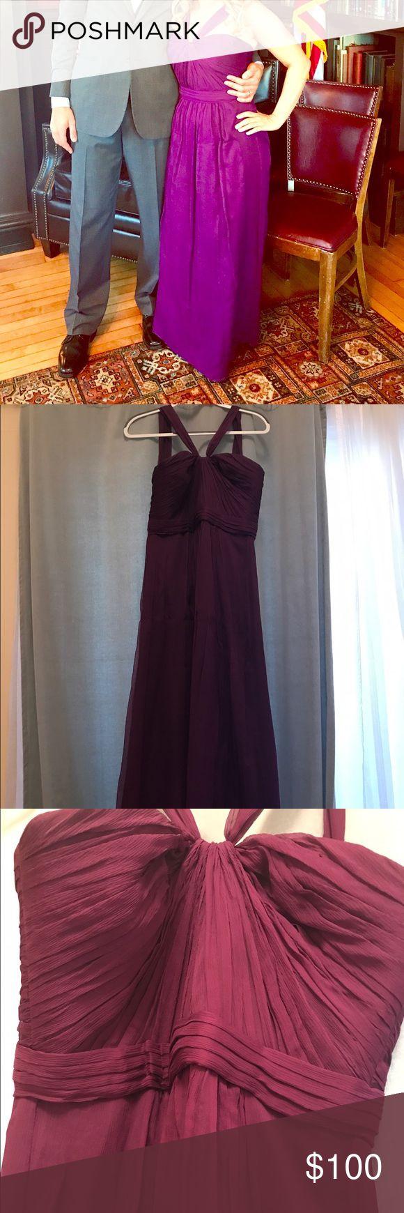 Eggplant chiffon gown - Bella's Bridesmaids Deep eggplant purple gown (petite length). Chiffon fabric and halter neckline Dresses Wedding