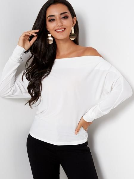 db8613ab91d91f White Plain Off The Shoulder Bat Long Sleeves Top   Products in 2019 ...