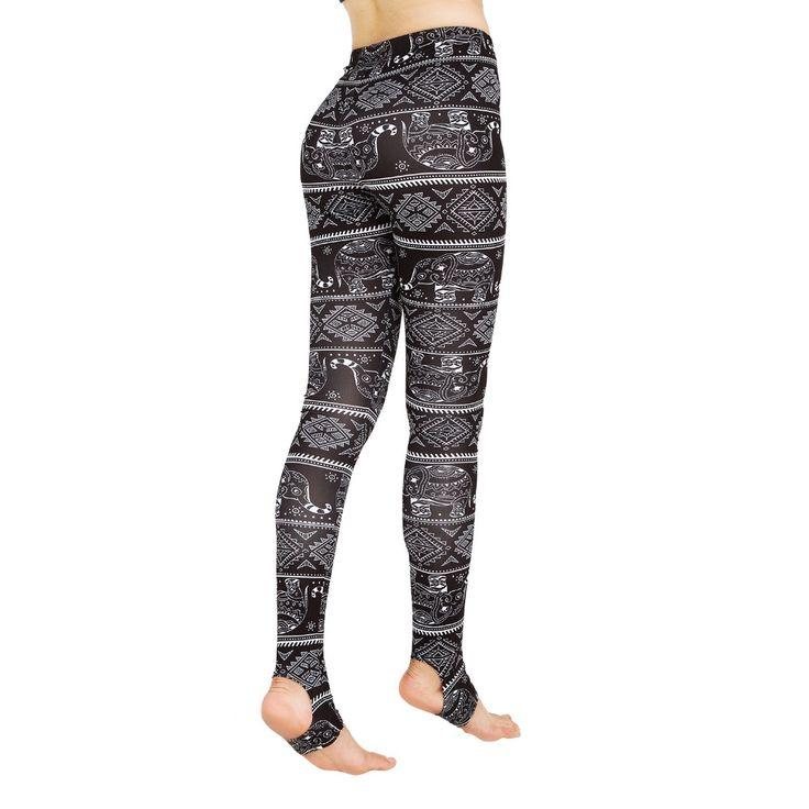 Black Stirrup Comfy winter outfit Trendy Geometric Print leggings yoga pants  (4)