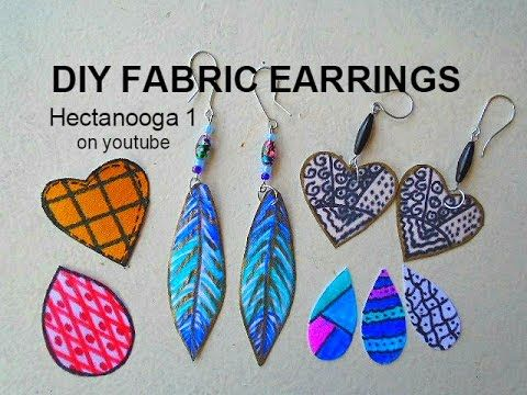 FABRIC EARRINGS, diy Jewelry Making, how to make feather earrings, craft project - YouTube
