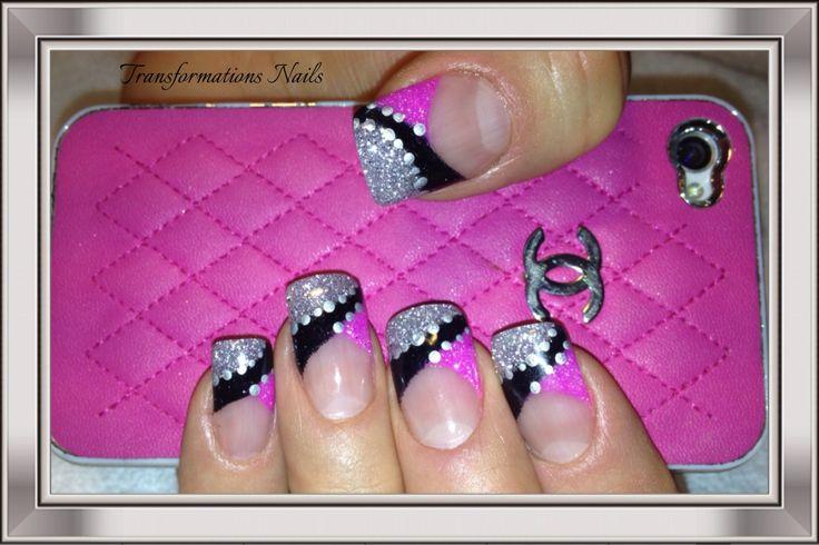#nails by #transformations Nails. #black prink nails #freehand  #nail art #fancy nail #prink nails #sparkle nail #shine.