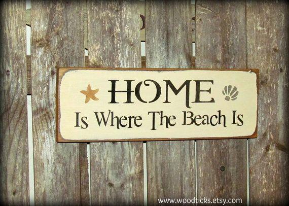 Beach House Decor Wooden Beach Sign Home Is Where The by Woodticks