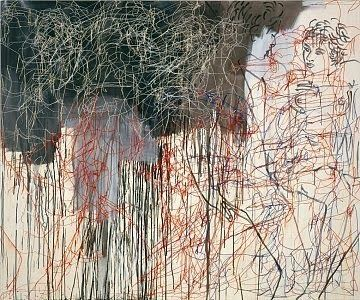 Ghada Amer - True the lines firework! And the silhouetes behind are intersting.