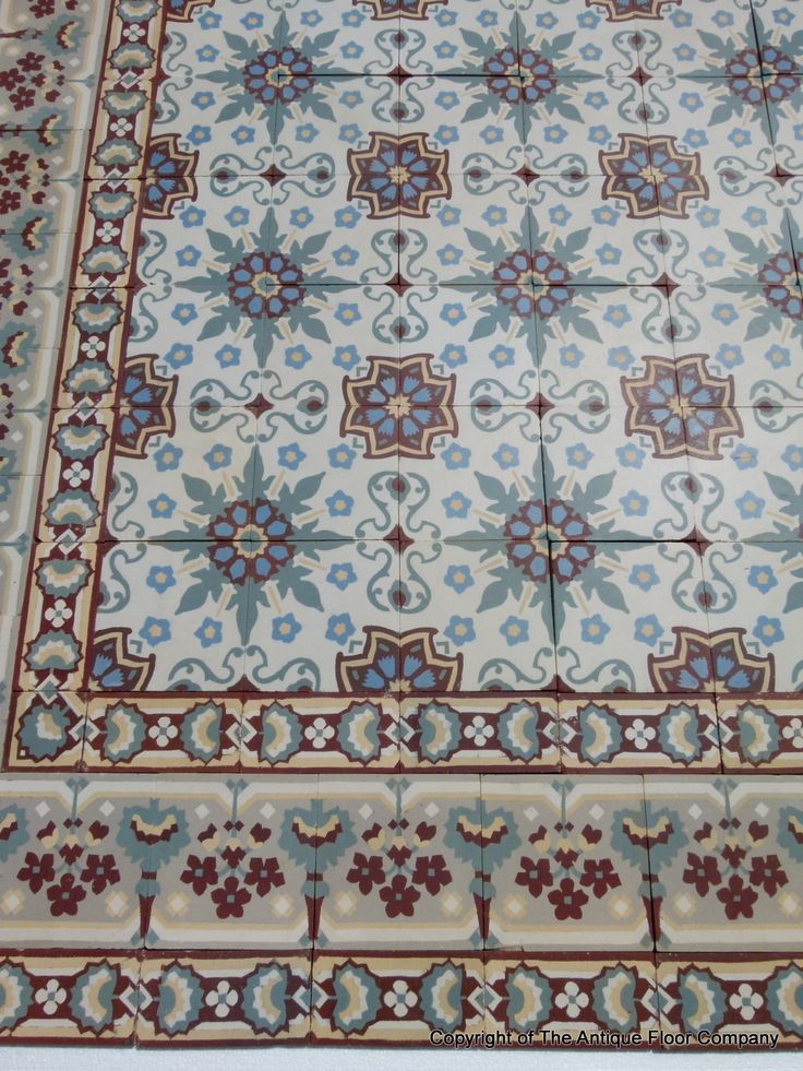 ~Pretty antique ceramic French floor with triple borders c.1900-1920 - The Antique Floor Company