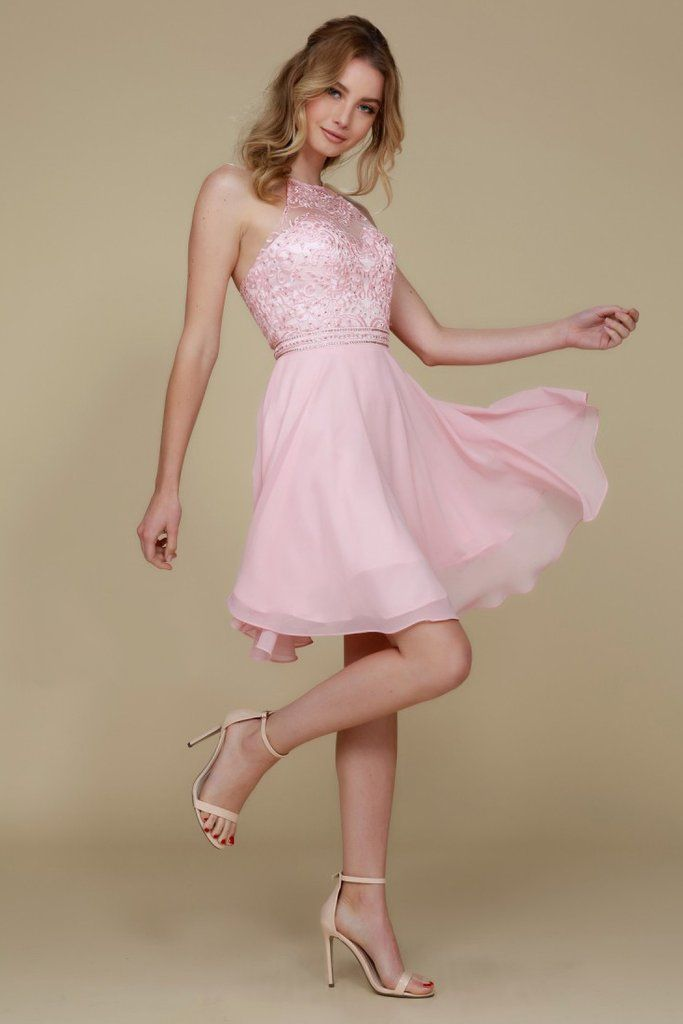 Cute pink Wholesale Short Semi Formal Cocktail Dresses with halter neckline  featuring floral tracery c88986783