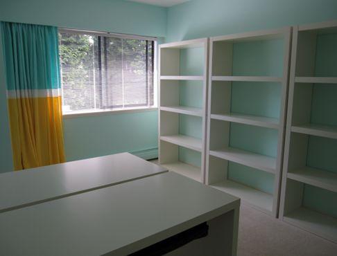 Tiffany Blue Office | Maria Killian. 626 Caribbean Breeze by Benjamin Moore or SW 6749 by Sherwin Williams