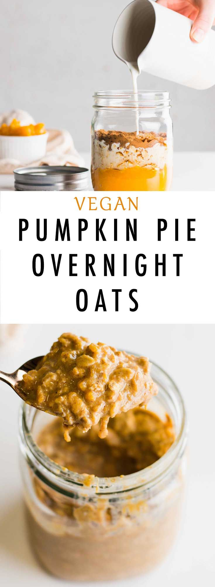 This Easy Vegan Pumpkin Pie Overnight Oats recipe is the ultimate breakfast choice for fall and winter. Made with almond milk, gluten-free oats and coconut sugar it is definitely a winner!