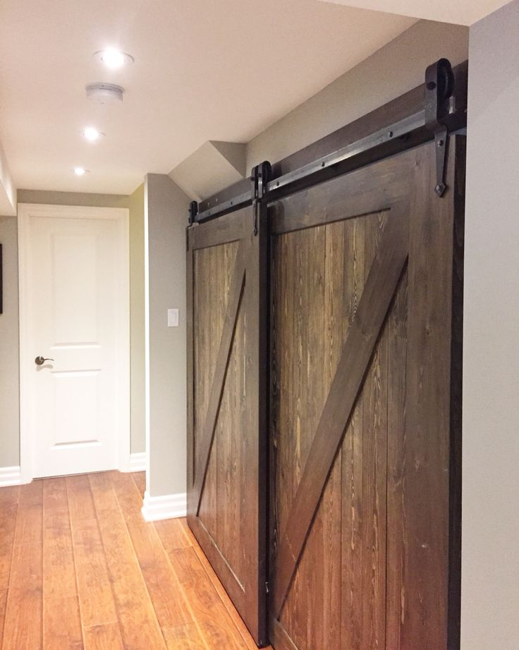 Arrowhead style bypass barn door hardware to hide storage for Barn door closet hardware