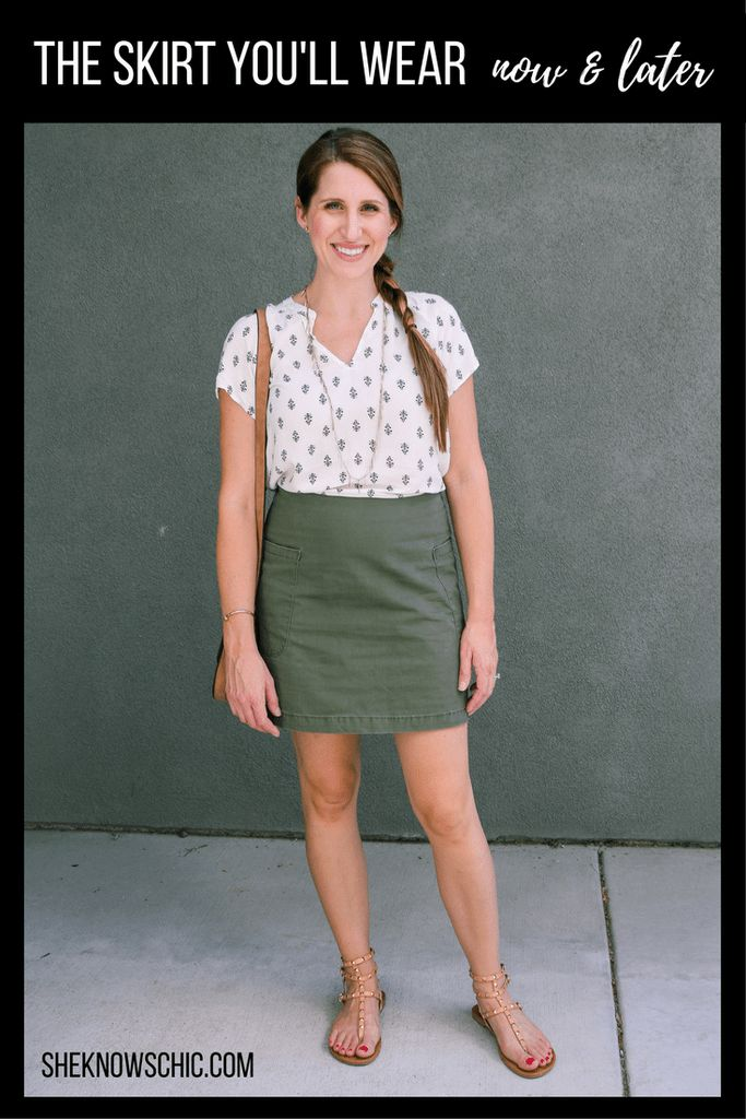 green military skirt, target style, green skirt outfit, summer outfit, summer fashion, fall outfit, fall fashion, teacher style, green miniskirt