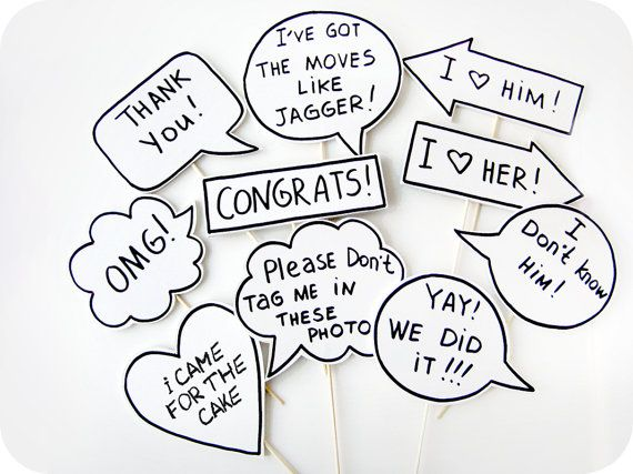 10 Signs Photobooth Props Wedding Photo Props by MisterMustache