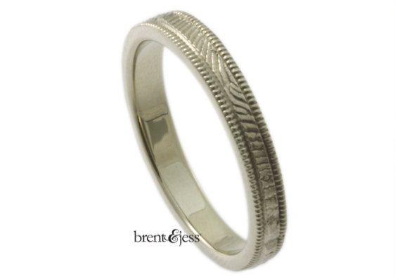 Traditional Narrow Milgrain Edge Fingerprint Wedding by fabuluster, $315.00