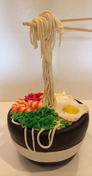Oodles of noodles with this Asian-fusion themed cake...