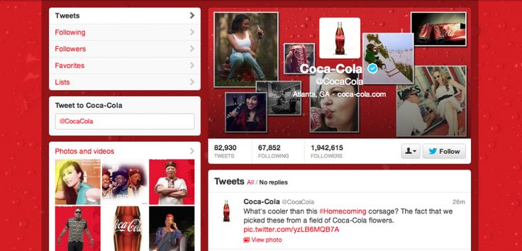 Coca-Cola Twitter page