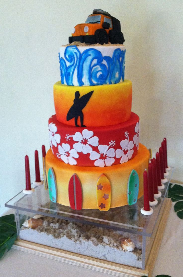 bar mitzvah surfer themed cake topped with jeep
