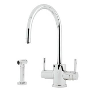 SUGGESTED IF YOU WANT FILTER FAUCET Rohl U.KIT1293LS-APC Triflow Double Lever Handle Kitchen Faucet with C Spout and Sidespray in Polished Chrome. This is a single control right, and a filter faucet left.