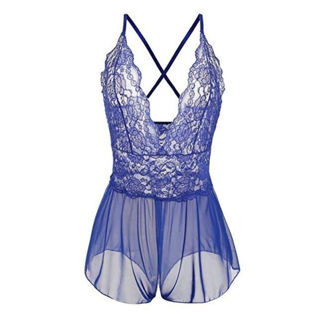 Women Sexy Lace Lingerie Babydolls Open File Baby Dolls Black Lingerie Deep V-neck Nightwear Sleepwear Plus Size New Arrival