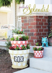 polka dot flower pots. I love the house number idea!