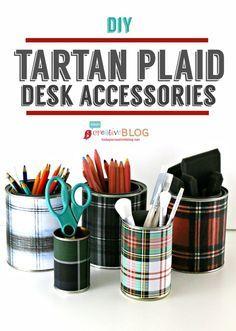 DIY Tartan Plaid Desk Accessories   Easy Craft with printable Tartan paper. TodaysCreativeLife.com  #tartan #diycrafts #easycrafts