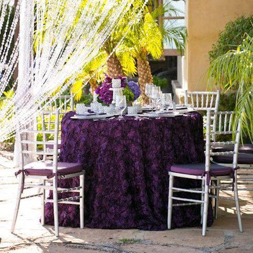Attractive Wedding Rosette 120 Round Tablecloth Plum By Luxuryweddinglinens