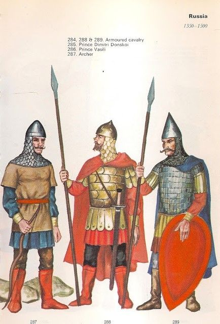 1350-1500 Russia  Archer, Knights - Items held are larger and not to scale for details.