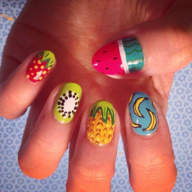 Рисунки фруктов на ногтях ::: onelady.ru ::: #nail #nails #nailart #manicure