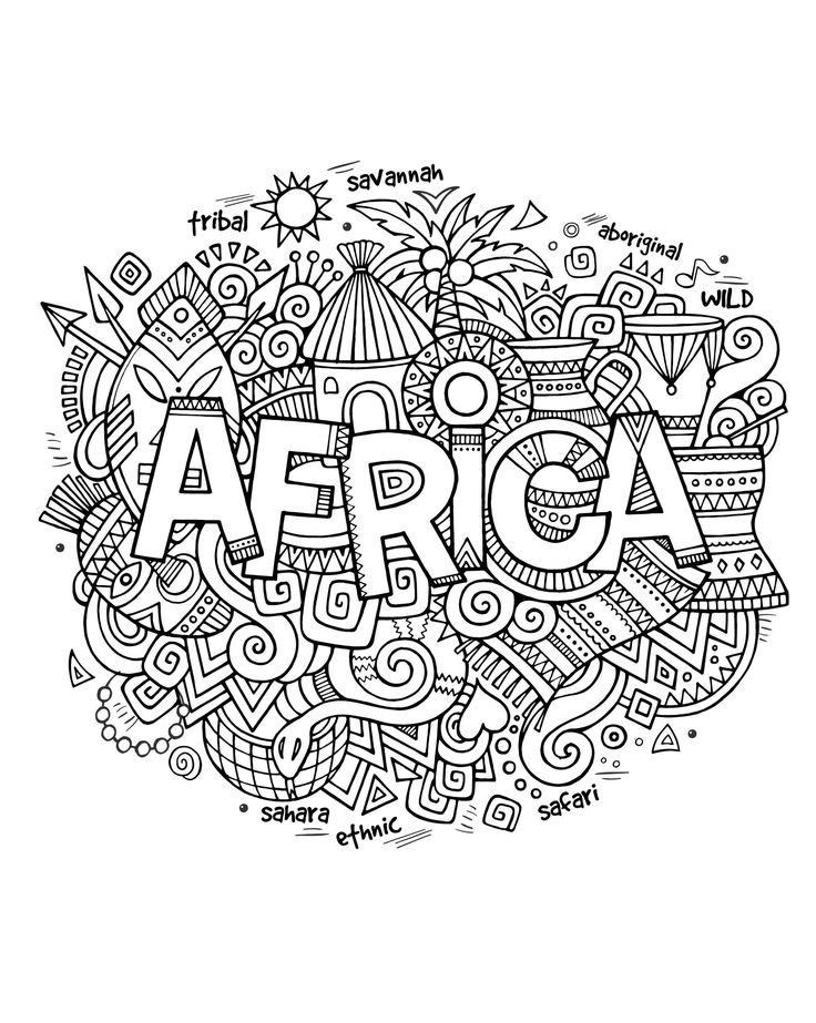 Free coloring page coloring-adult-africa-abstract-symbols. Drawing with the word 'Africa' and a lot of symbols of this continent around