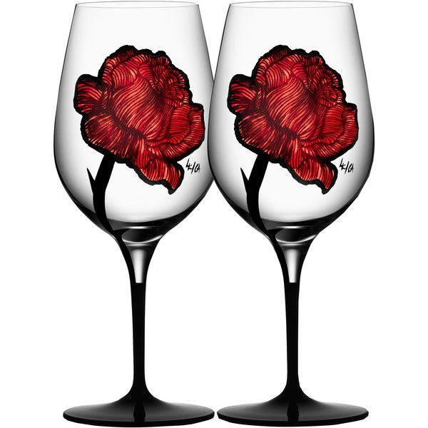 Kosta Boda Tattoo Wine Glass found on Polyvore