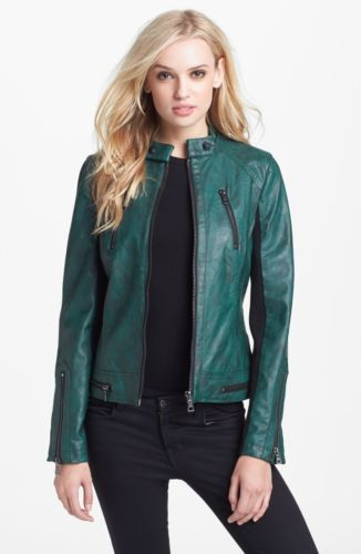 NWT NEW SAM EDELMAN Green Faux Leather Moto Jacket Size Medium ...