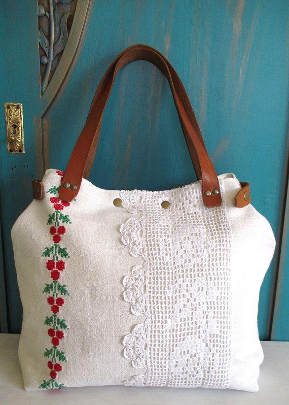 3 V Upcycled Hand Embroidered Bag Linen Bag Upcycled Antique