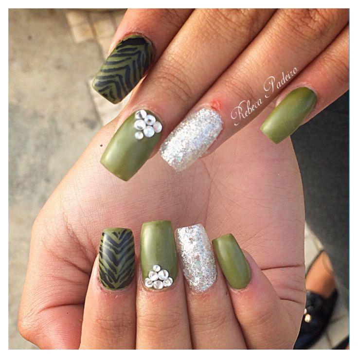 Matte Green Acrylic Nails (Crystal Swarovski)