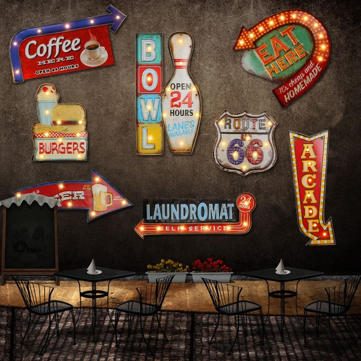 24 style Retro LED metal Sign decorative painting Bar Signage home wall decoration illuminated Cafe signboard hanging Neon signs-in Plaques & Signs from Home & Garden on Aliexpress.com   Alibaba Group
