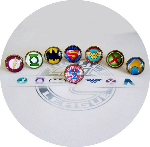 Justice League Superhero Cufflinks on Etsy, $17.90