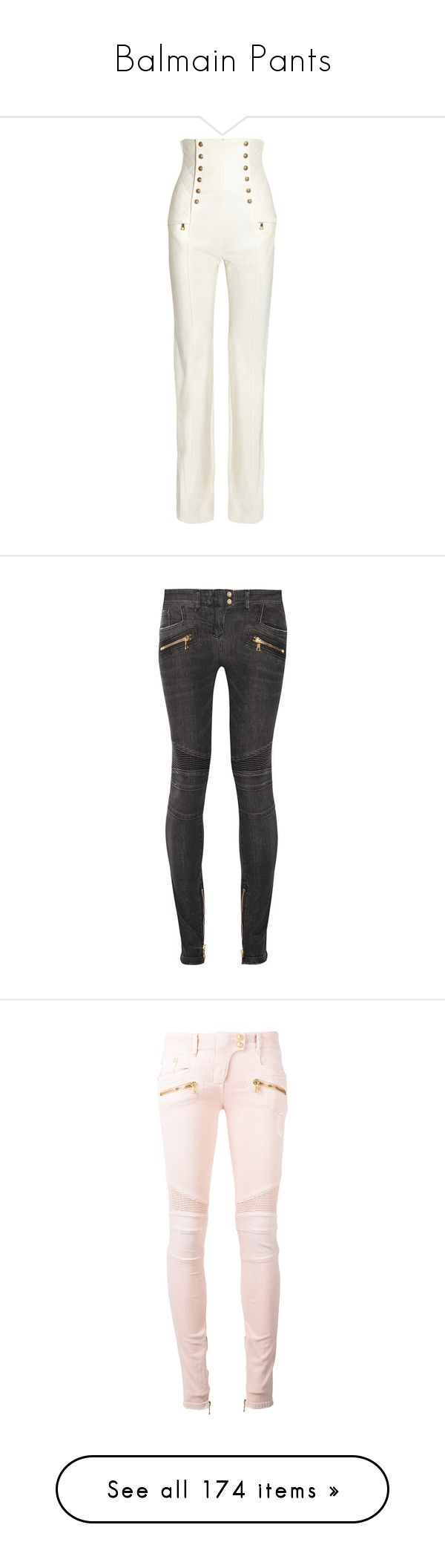 """""""Balmain Pants"""" by missy-smallen ❤ liked on Polyvore featuring pants, balmain, white satin pants, balmain pants, high-waisted pants, white wide leg trousers, high-waisted trousers, jeans, grey and super stretchy skinny jeans"""
