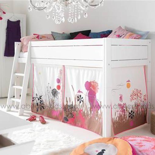 WONDERLAND by Life Time Lit mi-hauteur échelle inclinée / Panneau frontal Blanc laqué + rideaux de lit