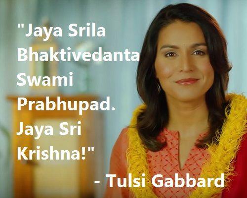 Tulsi Gabbard Janmashtami Message 2015. Jaya Srila Bhaktivedanta Swami Prabhupad. Jaya Sri Krishna!