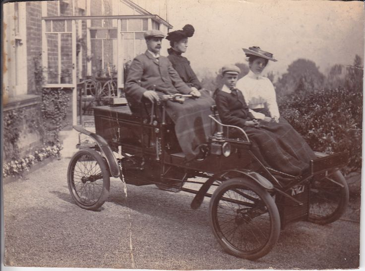 A steam car owned by the Marr family of Hexham in the early 1900s