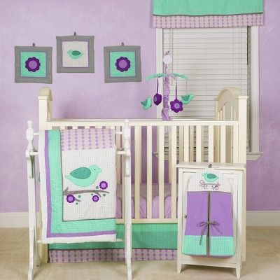 Pam Grace Creations Crib Bedding Set Lavender Love Birds