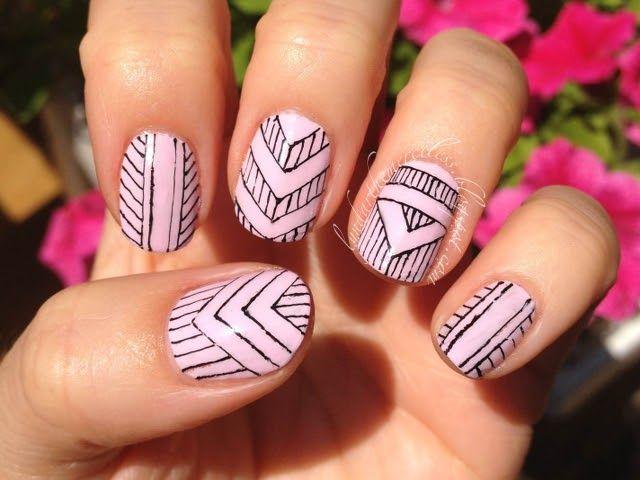 "Some recent nail art that I'm dubbing ""ladylike tribal"""