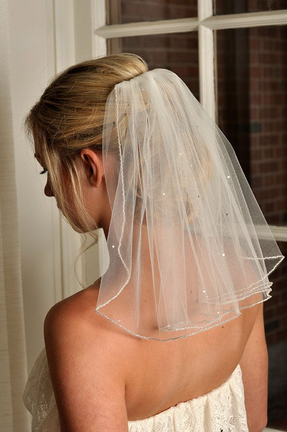 IVORY Veil with Beaded Edge and Scattered by SimplyBlueBridal, $76.00