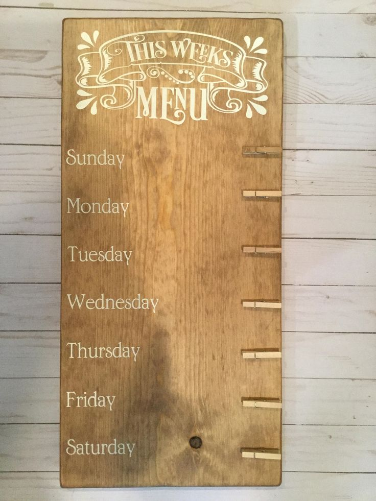 Weekly Menu Board by CraftedbyJP on Etsy