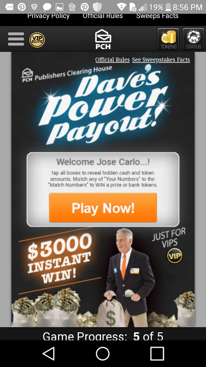 Pch i jcg claim vip elite $3,000 00 Dave's power payout! instant win