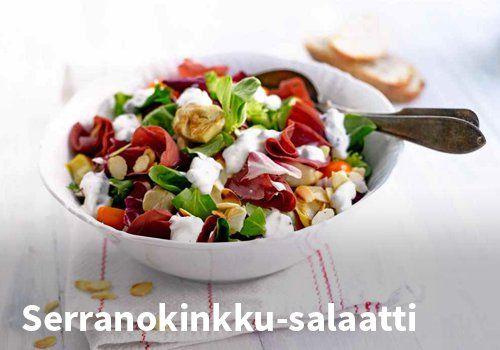 Serranokinkku-salaatti, Resepti: Valio #kauppahalli24 #resepti #serranokinkku #salaatti
