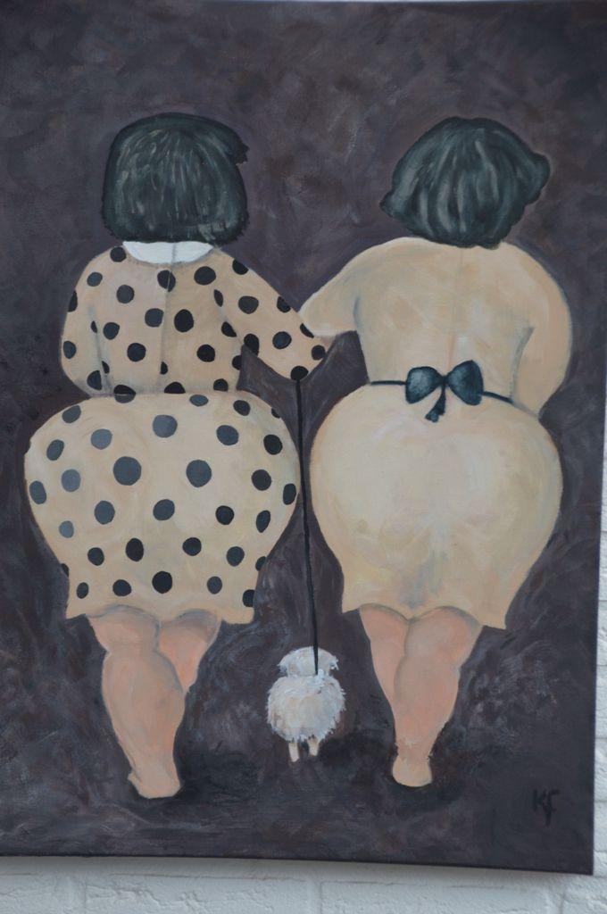 Dikke dames geschilderd op doek met acrylverf. Door mijn moeder Karen de Folter geschilderd.