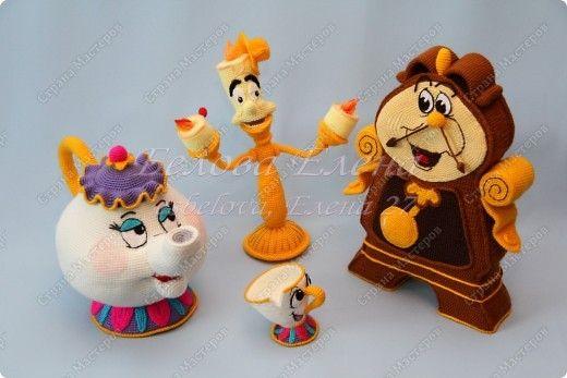 """Игрушка Вязание крючком: Миссис Поттс и Чип из м/ф """"Красавица и чудовище"""" Пряжа. Фото 7"""