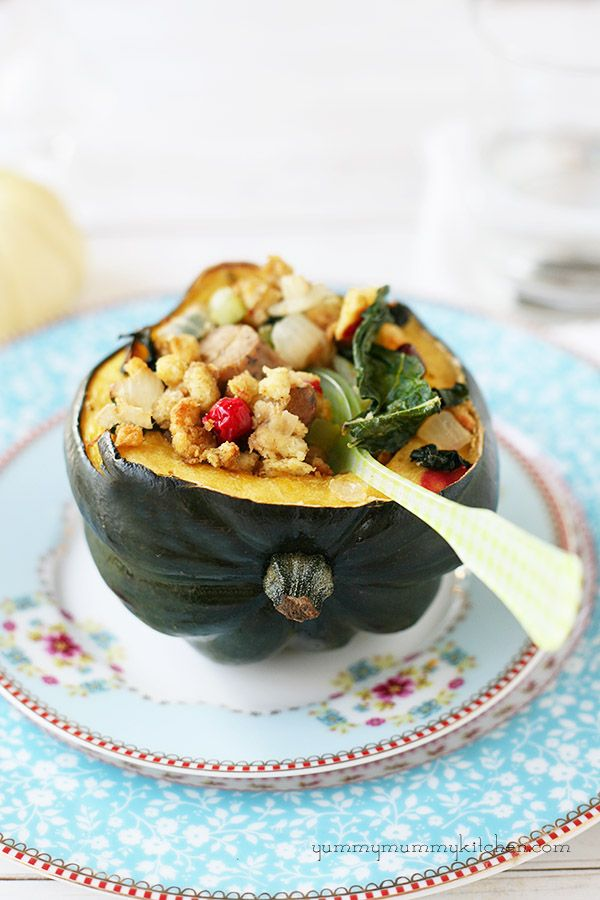 Kale, Cranberry, and (vegetarian) Sausage stuffed Acorn Squash from YummyMummyKitchen.com  #thanksgiving #recipe #vegetarian