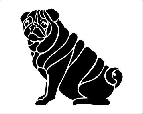 Pug stencil from The Stencil Library BUDGET STENCILS range. Buy stencils online. Stencil code SS62.