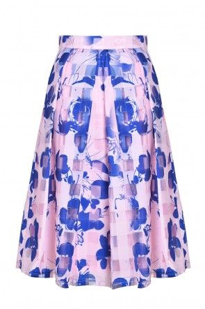 Marie Pleated Skirt in Pink and Blue