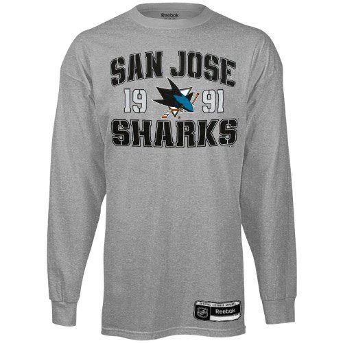 Reebok San Jose Sharks Validation Long Sleeve T-Shirt - Ash (Large) by Reebok. $19.95. Rib-knit collar & cuffs. Lightweight ribbed T-shirt. Screen print graphics. Reinforced taped collar seam. Tagless collar. Reebok San Jose Sharks Validation Long Sleeve T-Shirt - AshScreen print graphicsReinforced taped collar seamOfficially licensed NHL productImportedLightweight ribbed T-shirt90% Cotton/10% PolyesterRib-knit collar & cuffsTagless collar90% Cotton/10% PolyesterLightweigh...