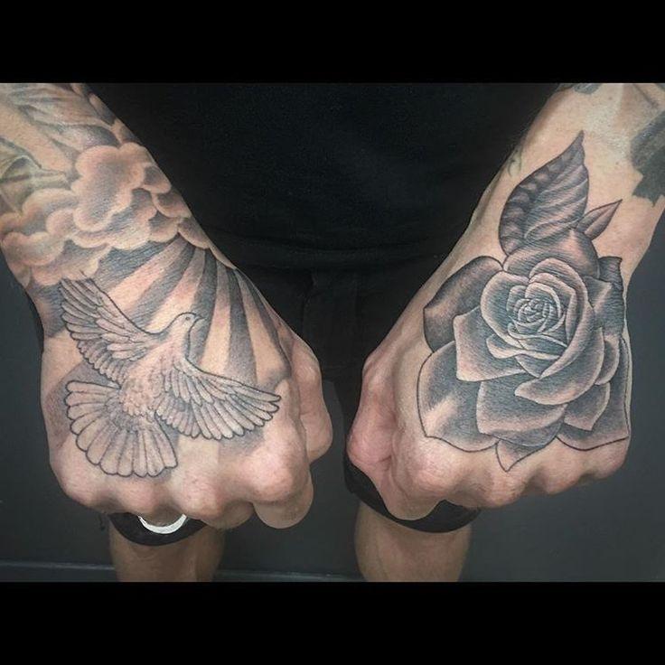 #tattoo #handtattoo #hands #dove #rose